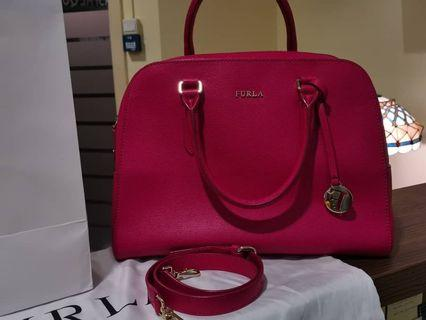 FURLA Elena Saffiano Satchel Leather Bag