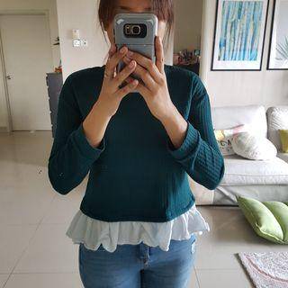 Brand outlet Emerald Green Ruffle Top M