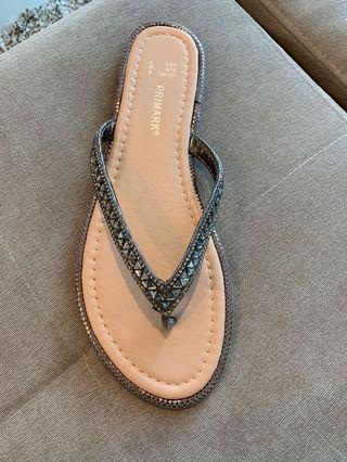 Metallic Silver Flip flop sandals