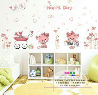 🌟PM for price🌟 🍀Happy Pink Bears Kids Room Wall Sticker🍀