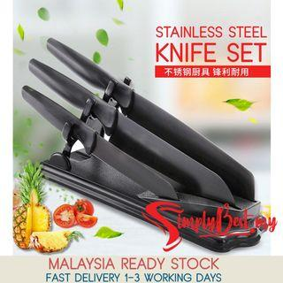 SIMPLYBEST Set of 4 Stainless Steel Black Coating Anti Rust Kitchen Knife Set Cut Slice Foldable Holder Stand