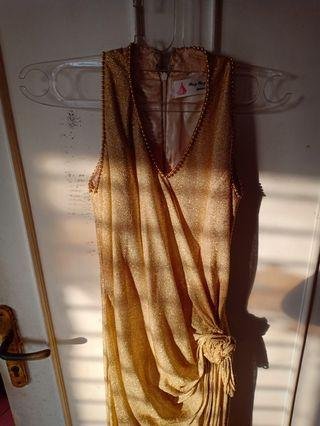 Long dress party vintage gold