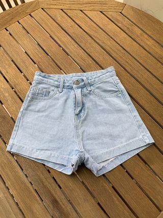 Light washed high waisted denim shorts