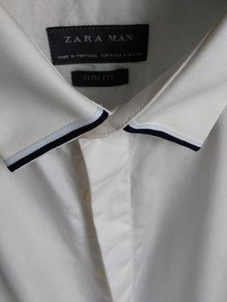 Zara Man Contrast Trim Slim Collar White Shirt #MGAG101