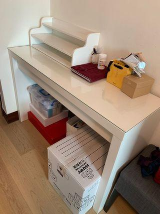 White table with shelf