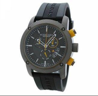 Burberry Sport Chronograph Grey Rubber Watch BU7713