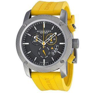 Burberry Sport Chronograph Grey Dial Yellow Strap Watch BU7712