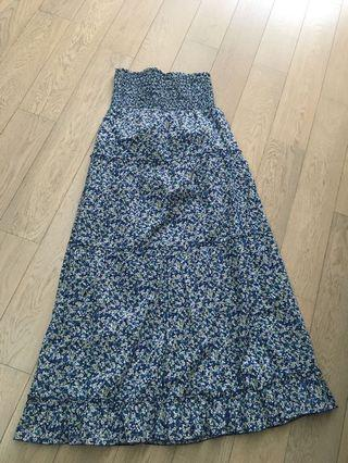 Floral long tube dress good as new