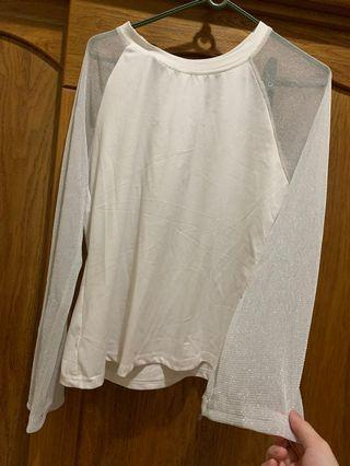 🚚 白色薄紗長袖