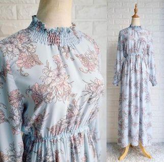Baby Blue Floral Maxi Long Dress