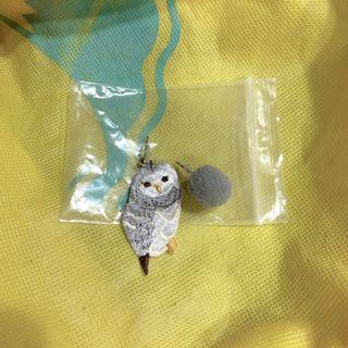 🚚 灰色 貓頭鷹 動物刺繡針織耳環 毛球耳環