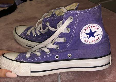 Purple Converse High Tops Size 5