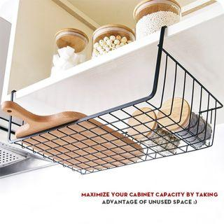 BLACK UNDER SHELF CUPBOARD HANGING STORAGE BASKET