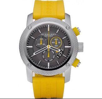 Burberry Sport Chronograph Grey Dial Yellow Rubber Watch BU7712