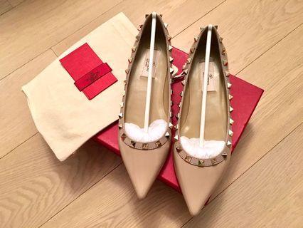 Valentino Rockstud Leather Flats 漆皮平底鞋