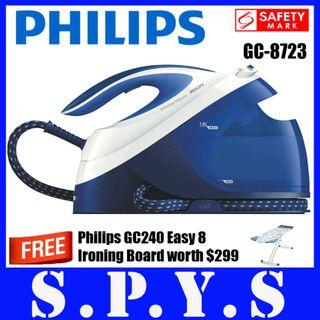 Philips GC8723 System Generation Iron. **FREE Philips Ironing Board GC240** Detachable Water Tank. 1.8 Litres Capacity. Soft Grip. Safety Mark Approved. Original Philips SG Product. 2 Years Warranty.