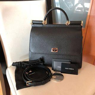 DOLCE & GABBANA DAUPHINE CALFSKIN MEDIUM MISS SICILY BAG Satchel Black