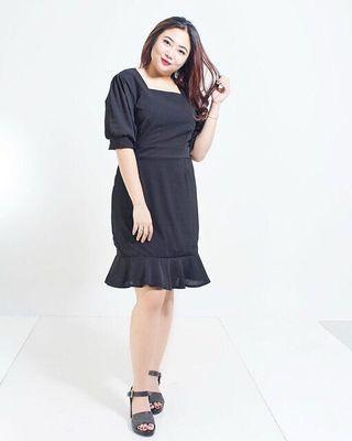 bigsize black mermaid dress