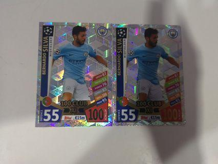 Bernado silva 100 club match attax 2017/18