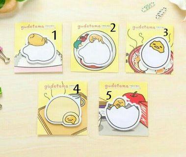 Sticky Notes Gudetama & Others (Swipe for catalogue)