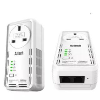 [SOLD] 2x Aztech HL129EP 1200Mbps HomePlug AV with AC Pass Through