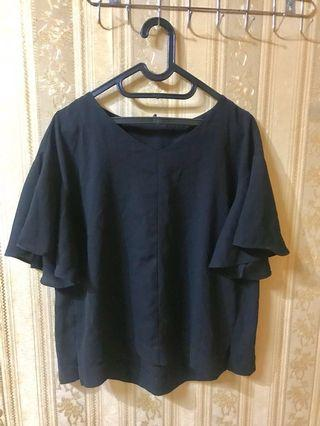 bigsize black flare top