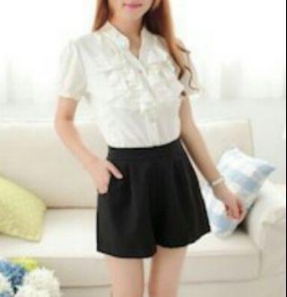 Korean Stylish High Waist Shorts Pants With Side Pockets