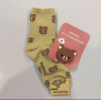 rilakkuma socks + phone bracket set!