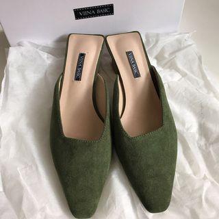 VIINA BASIC綠色穆勒鞋高跟拖鞋38