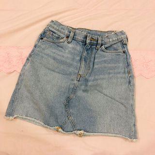 Monki Distressed Denim Skirt