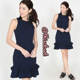 BNWT MDS Mermaid Hem Dress in Midnight Navy Blue