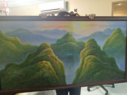 Painting mountain Fengshui feng shui painting canvas frame