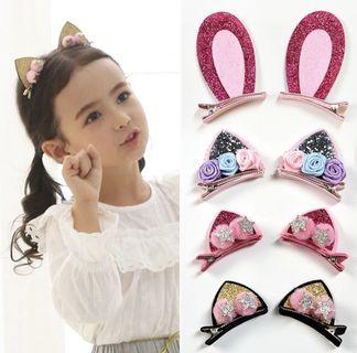 🚚 INSTOCK Cat Ear Floral Clips