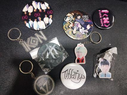 kpop badges and keychains