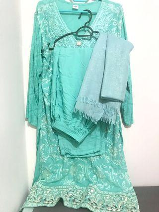 Mint green tiffany blue turquoise pastel kurti blouse with pants and dupatta
