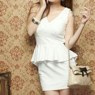 Korean Stylish White Peplum Dress
