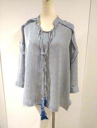 韓版藍白小立領寬鬆上衣