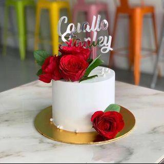Chocolate Cake White Icing with flowers