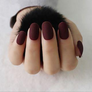 🚚 ‼️SOLD OUT‼️Dark Red Matte Press-On Nails