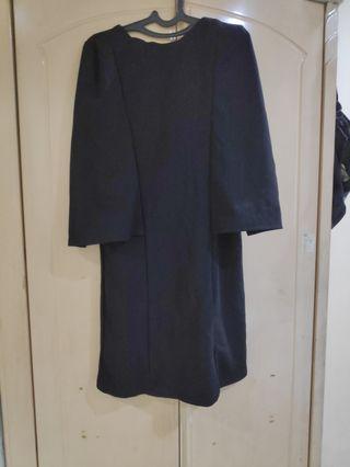 Cape Dress hitam Pekat Korea