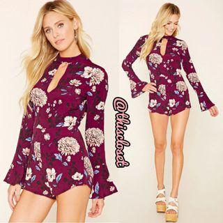 F21 Floral Romper with Bell Sleeves