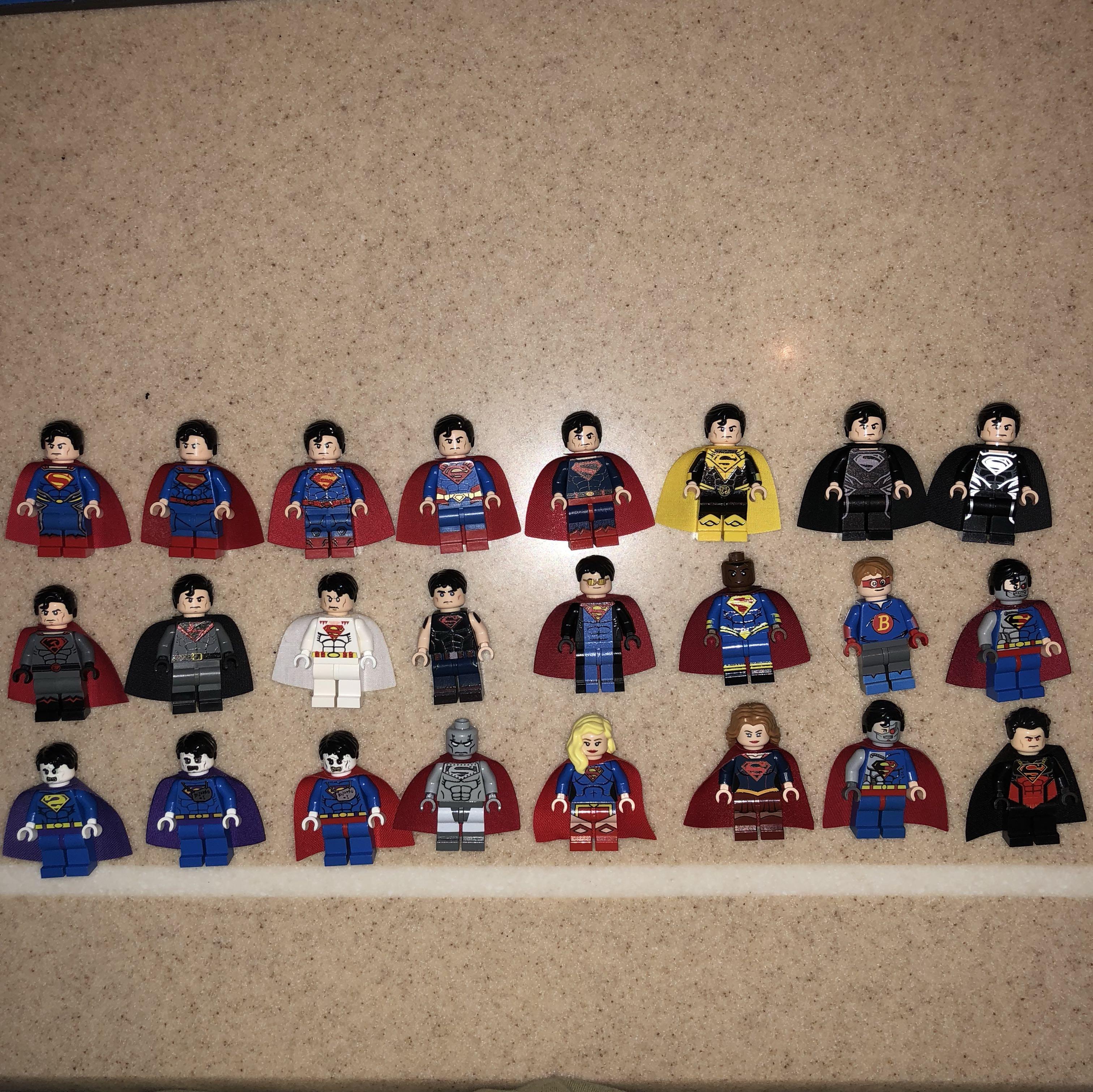 22 PCS ORIGINAL CUSTOM LEGO MINIFIGS MINIFIGURES SUPERMAN AND SUPERGIRL  MARVEL DC SUPERHEROES NEW UNUSED