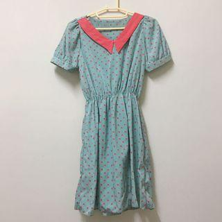 韓 天堂鳥 蘋果綠配色滑布洋裝
