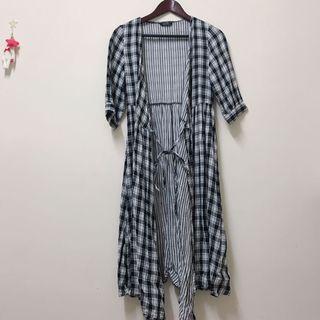 Lovfee棉質格紋洋裝/罩衫