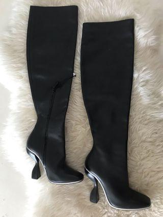 BALENCIAGA  Black Leather Long boots