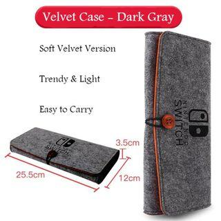 Nintendo Switch Slim GREY VELVET Case Protective Travel Carrying Case Clutch Pouch Cover Console and Accessories