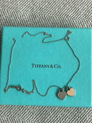 Authentic Tiffany's tag pink heart necklace