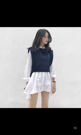 2 pieces shirt/ style dress with vest