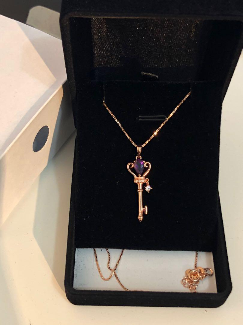 925 Sterling Silver Amethyst Key Necklace NEW in BOX!