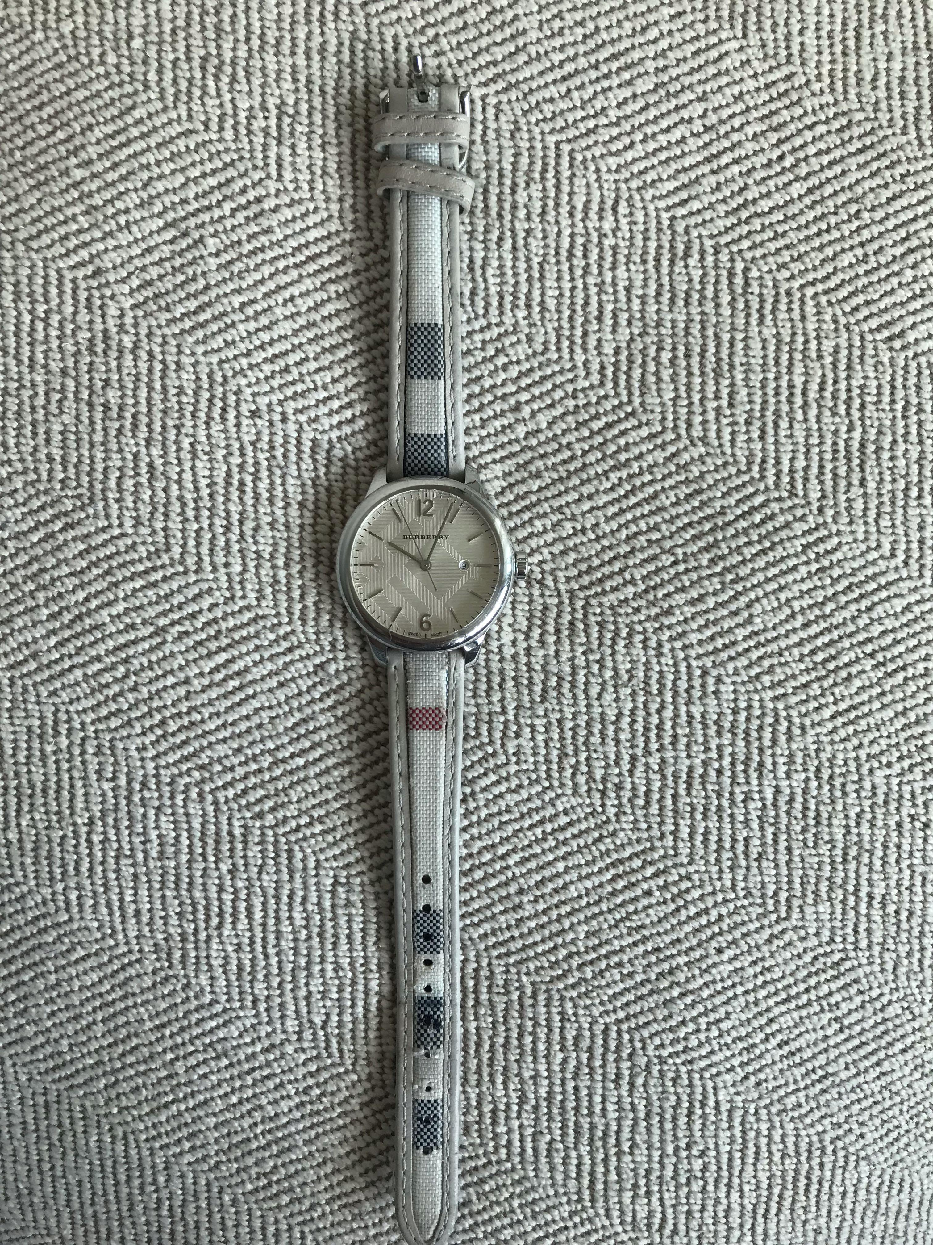 Authentic Burberry watch with classic check leather band
